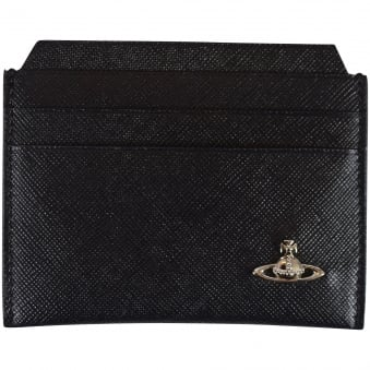 Vivienne Westwood Accessories Black Thin Grained Leather Cardholder