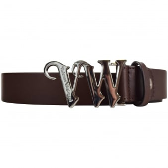 Vivienne Westwood Accessories Brown/Silver Text Buckle Belt
