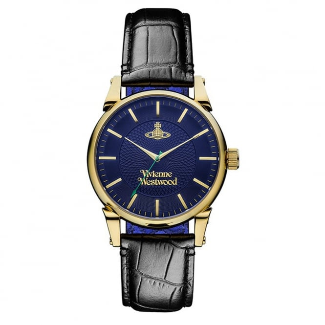 VIVIENNE WESTWOOD ACCESSORIES Vivienne Westwood Black Finsbury Leather Watch