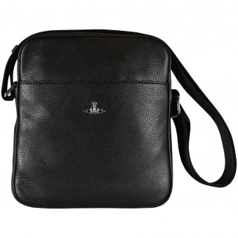 Vivienne Westwood Black Grained Leather Body Bag