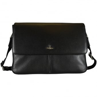Vivienne Westwood Black Grained Leather Messenger Bag