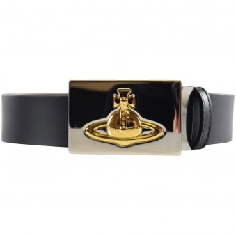 Vivienne Westwood Black Square Silver/Gold Buckle