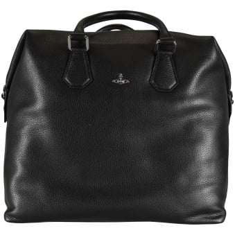 Vivienne Westwood Large Black Grained Leather Holdall