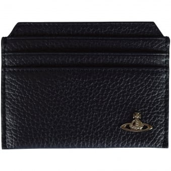 Vivienne Westwood Navy Grained Leather Card Holder