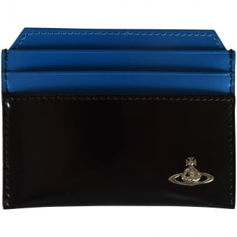 Vivienne Westwood Patent Black/Blue Card Holder