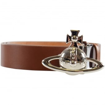 Vivienne Westwood Tan Orb Buckle Palladio Belt