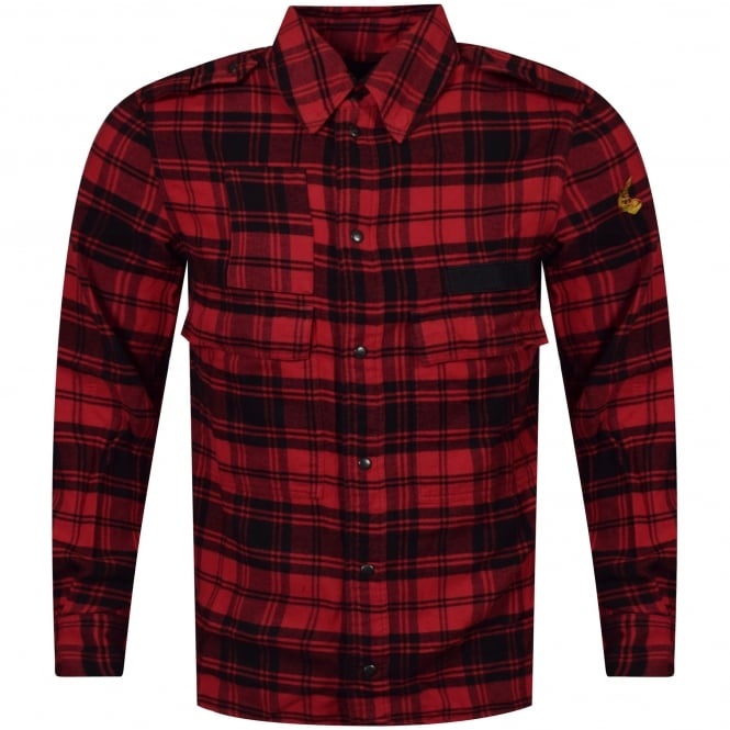 VIVIENNE WESTWOOD ANGLOMANIA Berry Red/Black Tartan Check Shirt