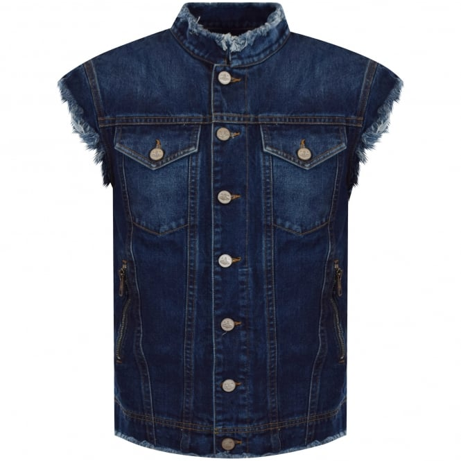 VIVIENNE WESTWOOD ANGLOMANIA Blue Denim Distressed Sleeveless Jacket