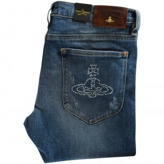 Vivienne Westwood Anglomania Blue Orb Skinny Fit Jeans