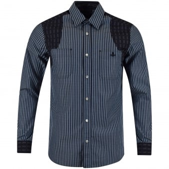 Vivienne Westwood Anglomania Blue Stripe Contrast Shirt
