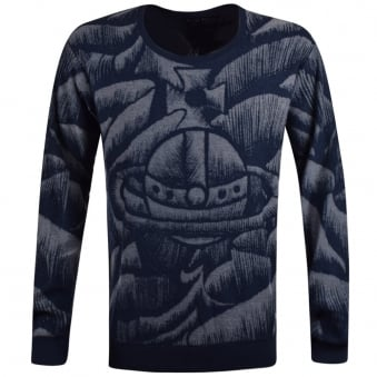 Vivienne Westwood Anglomania Navy All Over Print Oversized Jumper