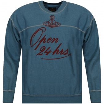 Vivienne Westwood Blue 24 Hours Print Square Sweater