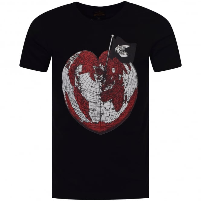 VIVIENNE WESTWOOD ANGLOMANIA Vivienne Westwood Heart World Print T-Shirt In Black