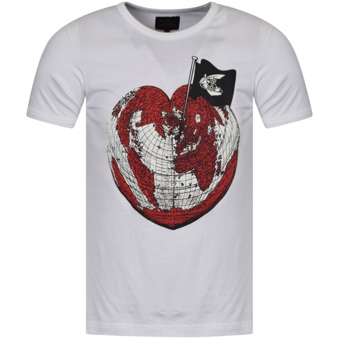 VIVIENNE WESTWOOD ANGLOMANIA White Heart World Print T-Shirt