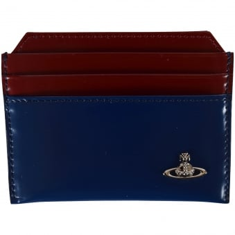 Vivienne Westwood Blue/Bordeaux Leather Card Holder