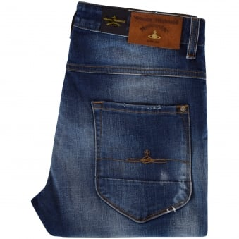 Vivienne Westwood Don Karnage Blue Distressed Jeans