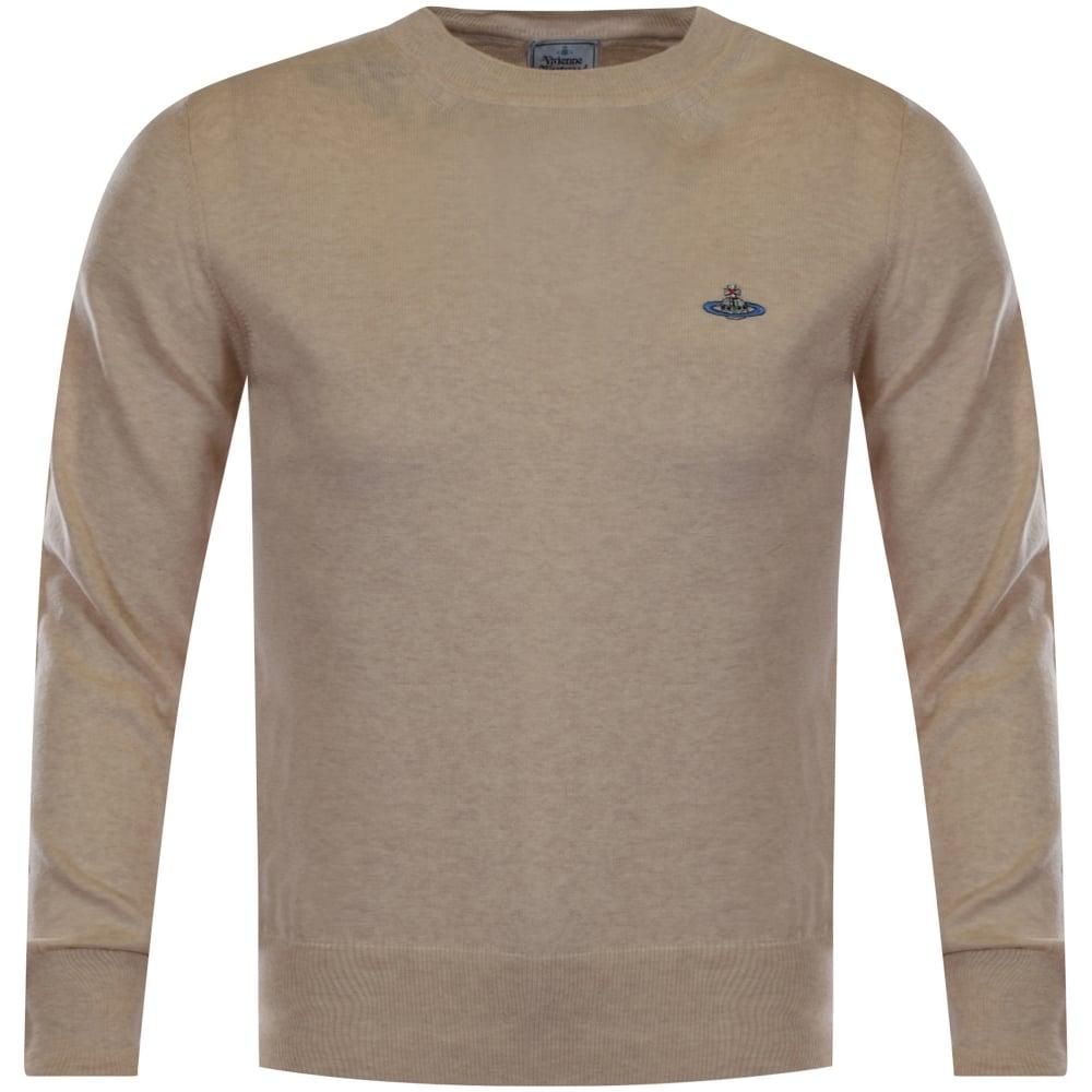 86b5f3b810 VIVIENNE WESTWOOD Vivienne Westwood Man Beige Knitted Logo Jumper ...
