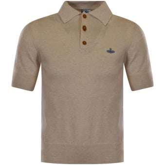 Vivienne Westwood Man Beige Knitted Logo Polo Shirt