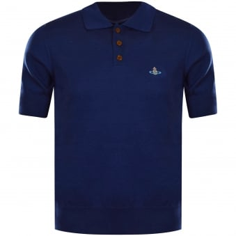 Vivienne Westwood Man Blue Knitted Logo Polo Shirt