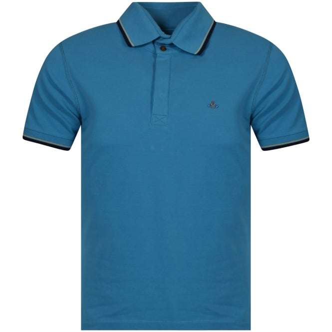 VIVIENNE WESTWOOD MAN Vivienne Westwood Turquoise Short Sleeved Polo Shirt