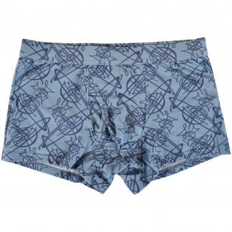 Vivienne Westwood Underwear Light Blue Scribble Orb Logo Trunks