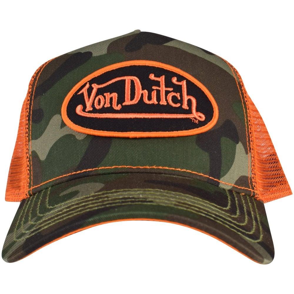 72faed4f0446a VON DUTCH Camo   Orange Mesh Patch Trucker Cap - Men from ...