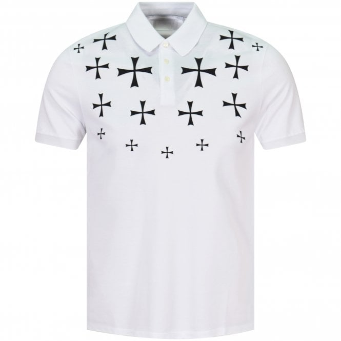 41292aafe NEIL BARRETT White/Black Cross Print Polo Shirt - Department from ...