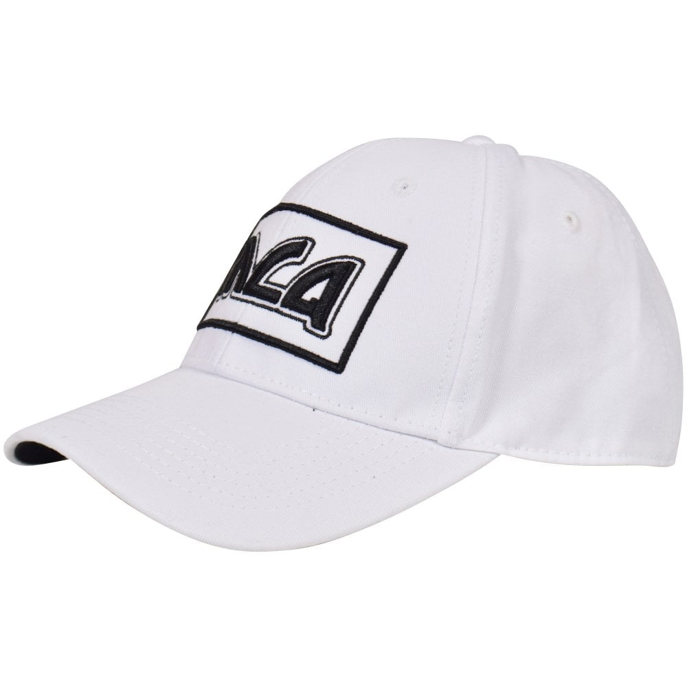 McQ by ALEXANDER MCQUEEN White Black Logo Baseball Cap - Men from ... b8b26d2572bc