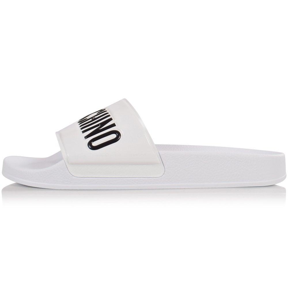 MOSCHINO White/Black Logo Sliders