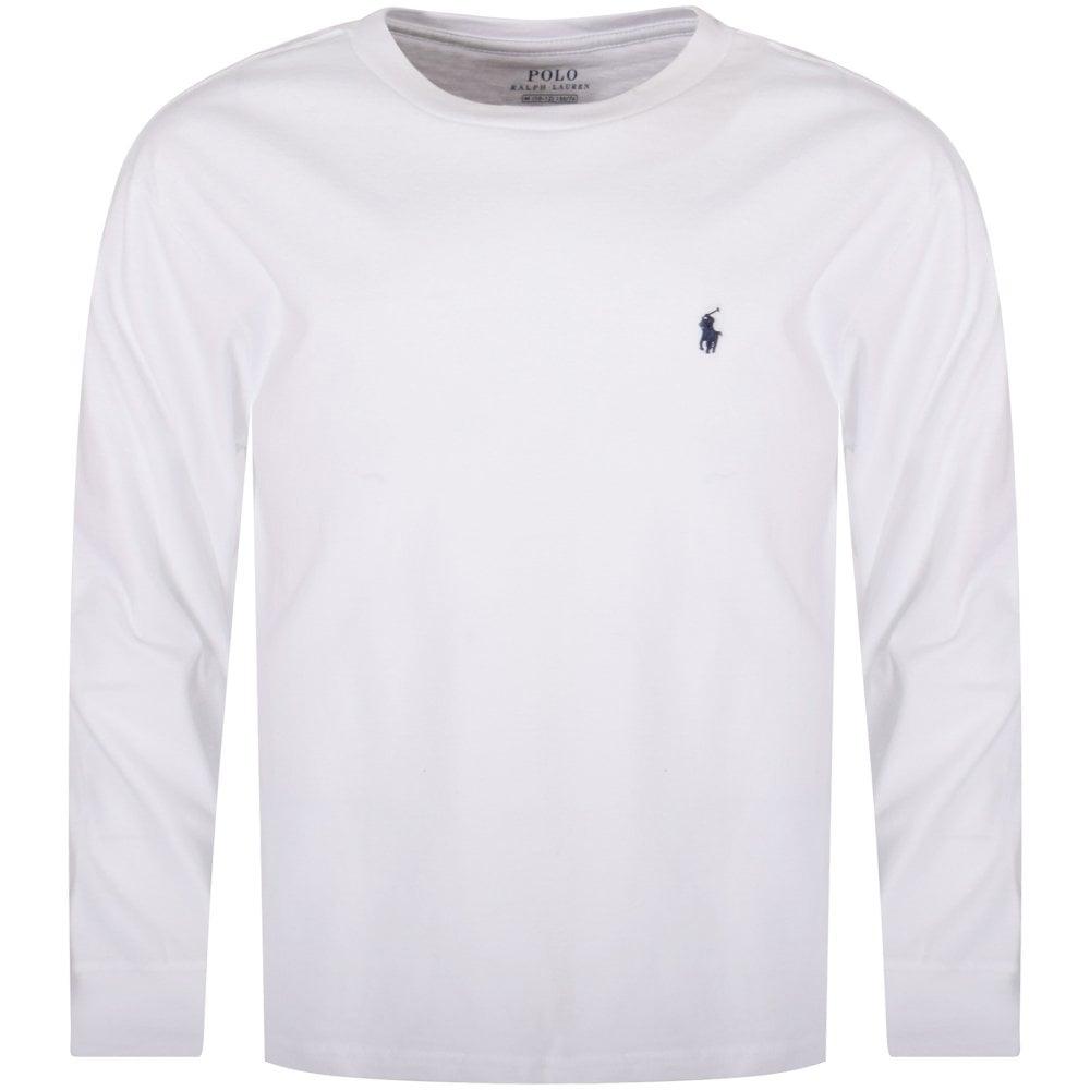 2a4a92df081c37 POLO RALPH LAUREN JUNIOR White Classic Logo Long Sleeve T-Shirt ...