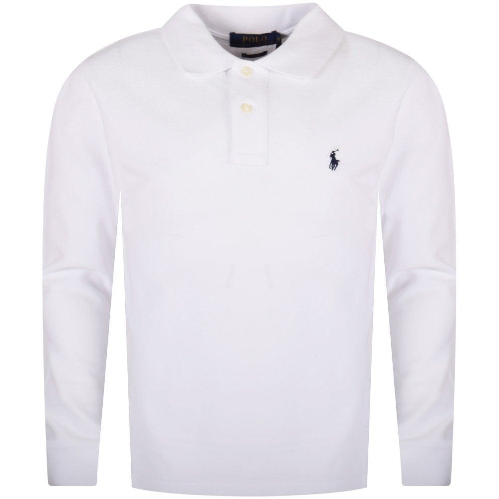 e6ca648f6 POLO RALPH LAUREN JUNIOR White Classic Long Sleeve Polo Shirt ...