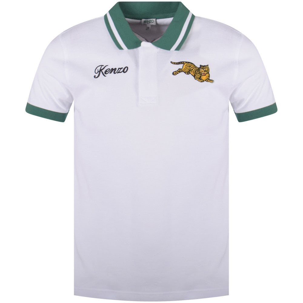 ce507a62b KENZO White/Green Tiger Polo Shirt - Department from Brother2Brother UK