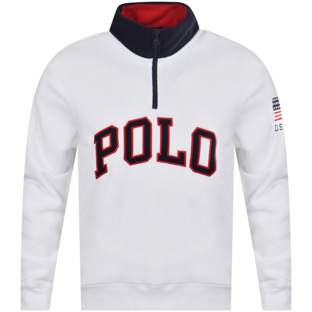 Online bestellen Offizieller Lieferant bester Verkauf White Half Zip Fleece Jumper