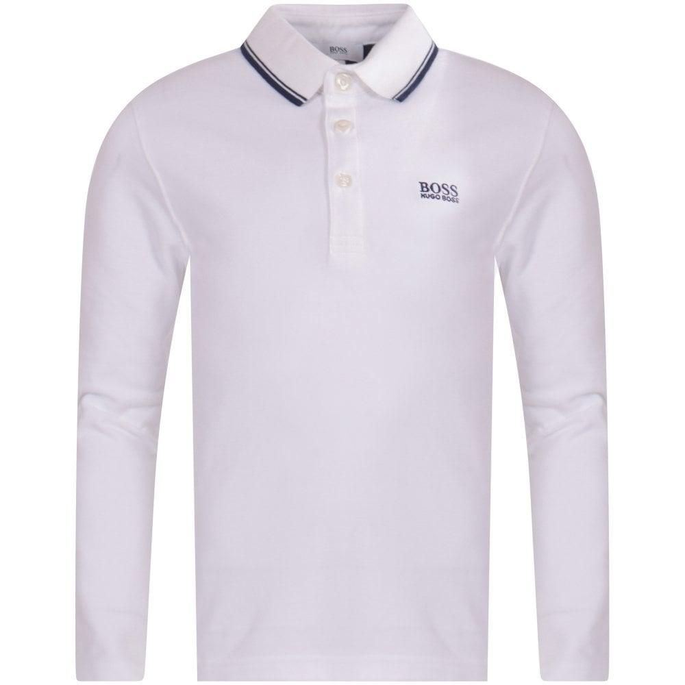 3a3b03d6 HUGO BOSS JUNIOR White Long Sleeve Polo Shirt - Junior from ...