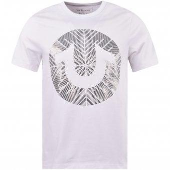 88dad7a2 White Metallic Gel Relief Logo T-Shirt · TRUE RELIGION ...