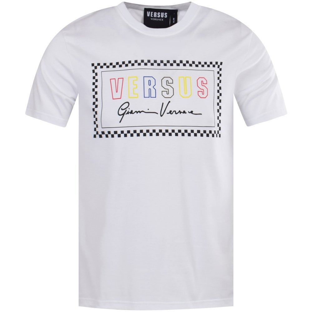 3836454a VERSUS VERSACE White/Multi 90s Logo T-Shirt - T-Shirts from ...