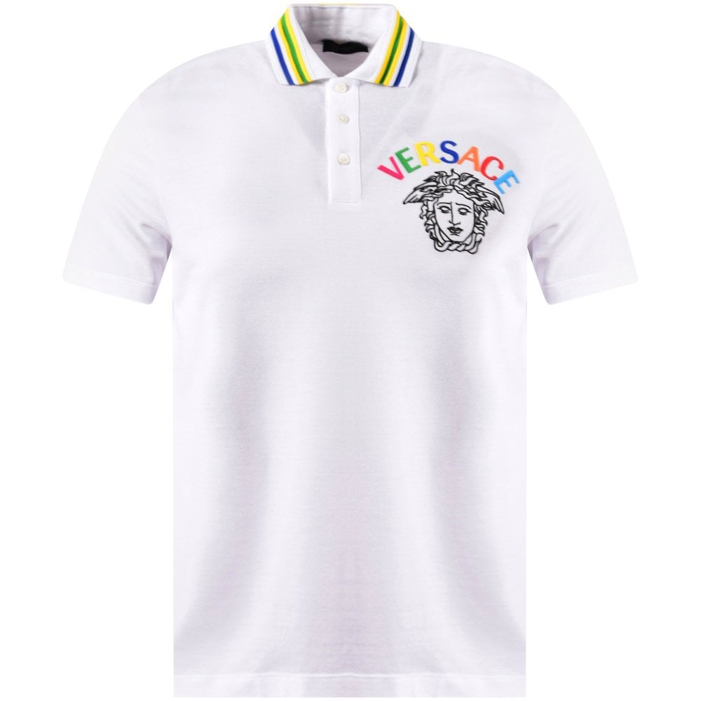 382312bf VERSACE White/Multi Embroidered Medusa Polo Shirt - Men from ...