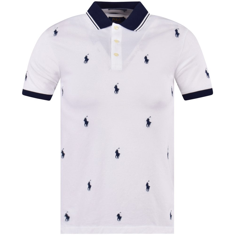 78f1695cfb4 POLO RALPH LAUREN White Multi Logo Polo Shirt - Department from ...