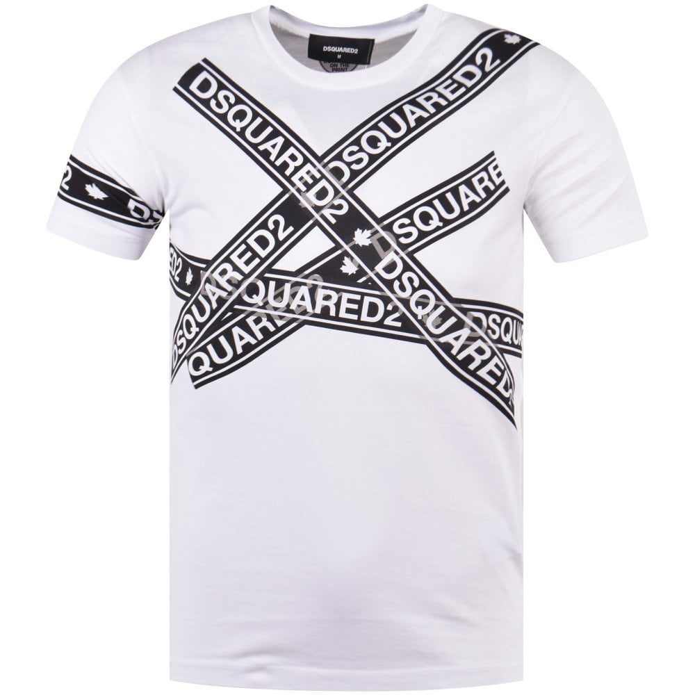 9b8e8093 DSQUARED2 White Multi-Tape T-Shirt - Department from Brother2Brother UK