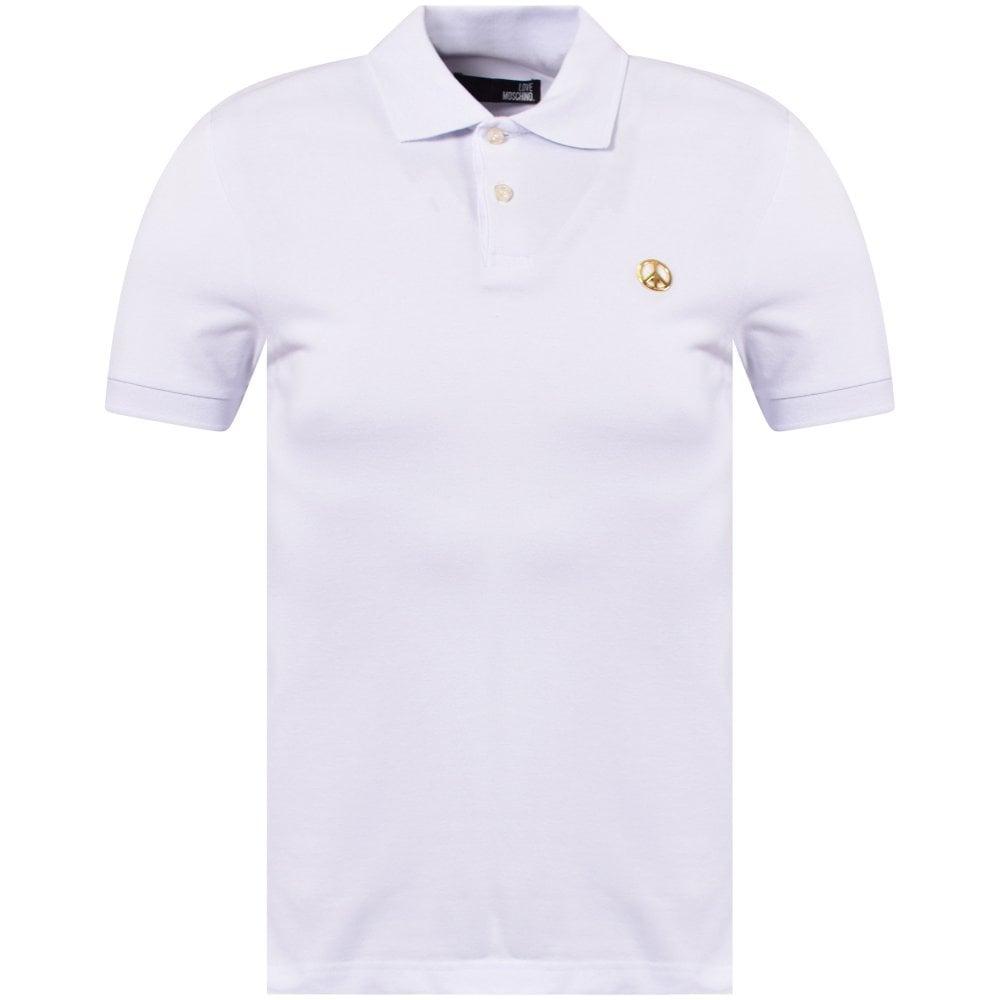 69e064818 LOVE MOSCHINO White Peace Logo Polo Shirt - Department from ...