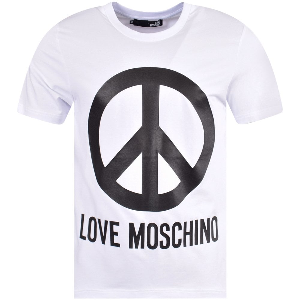 8cb7fba26 LOVE MOSCHINO White Peace Logo T-Shirt - Department from ...