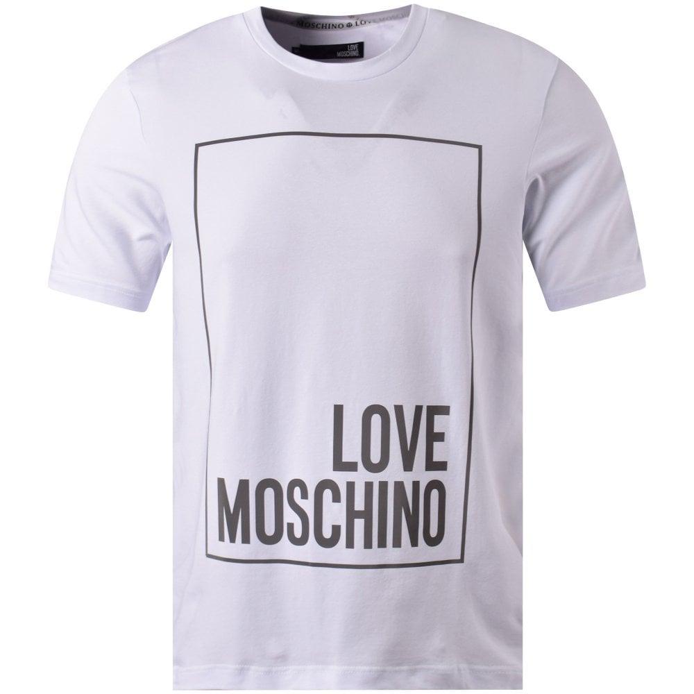 e7251f7c3b157 LOVE MOSCHINO White Reflective Box Logo T-Shirt - Men from ...