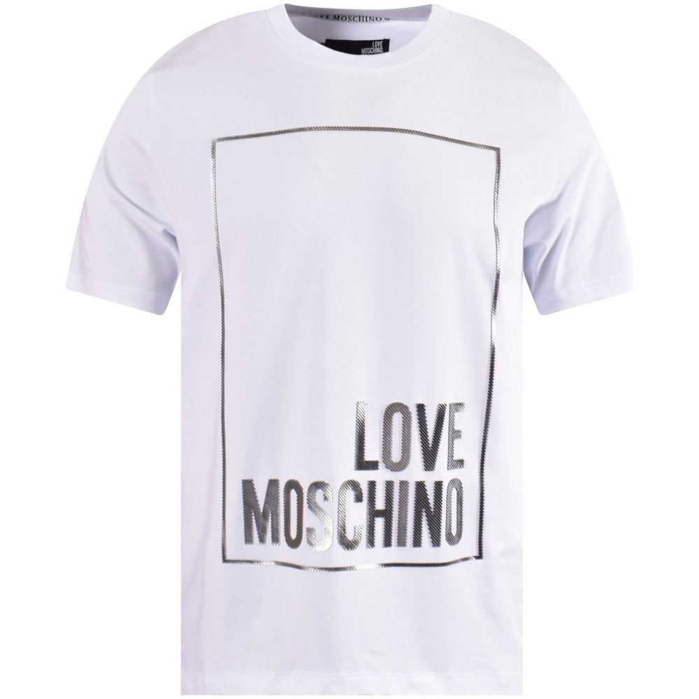 3bcc970a73e95 LOVE MOSCHINO White/Silver Detailed Box Logo T-Shirt - Men from ...