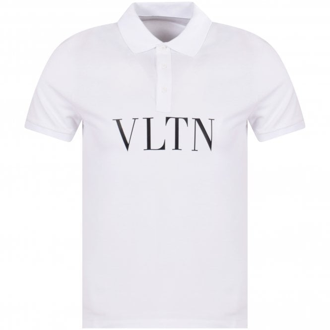 49b7e38a VALENTINO White VLTN Pique Polo Shirt - Department from ...