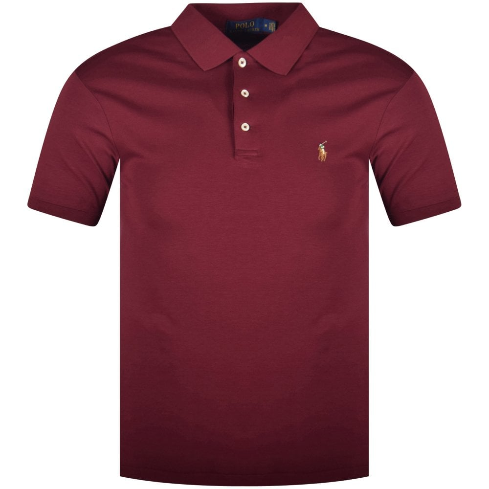 Polo Ralph Lauren Wine Coloured Slim Fit Polo Shirt Men From