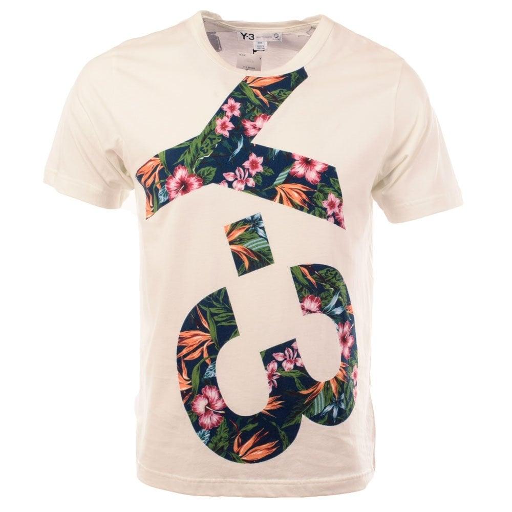 472dc750 Y-3 White Floral Logo Crew Neck T-Shirt