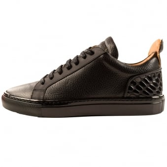 Ylati Black Leather Amalfi Low Metal Bubble Trainers