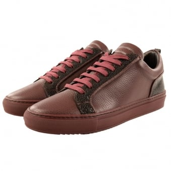 Ylati Dark Wine Leather Amalfi Stingray Low Trainers