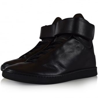 Ylati Footwear Black Perforated Virgilio Hi Trainers