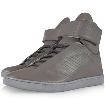 Ylati Footwear Grey Perforated Virgilio Hi Trainers